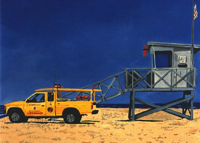 Modern Greeting Card featuring the painting Manhattan Beach Lifeguard Station Side by Lance Headlee