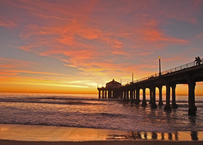 Manhattan Beach Sunset Greeting Card featuring the photograph Manhattan Beach Sunset by Matt MacMillan