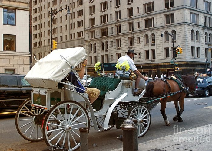Buggy Greeting Card featuring the photograph Manhattan Buggy Ride by Madeline Ellis