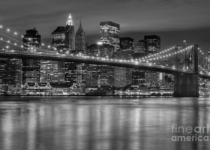 Clarence Holmes Greeting Card featuring the photograph Manhattan Night Skyline Iv by Clarence Holmes