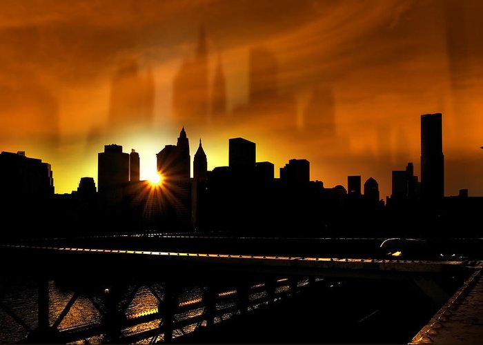 America Greeting Card featuring the photograph Manhattan Silhouette by Svetlana Sewell