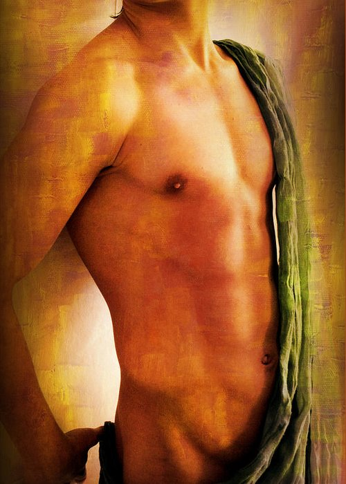 Artistic Nude Greeting Card featuring the painting Manipulation In Yellow by Mark Ashkenazi