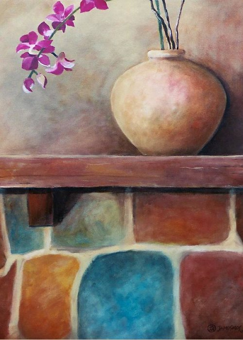 Mantel Greeting Card featuring the painting Mantel Beauty by Jun Jamosmos