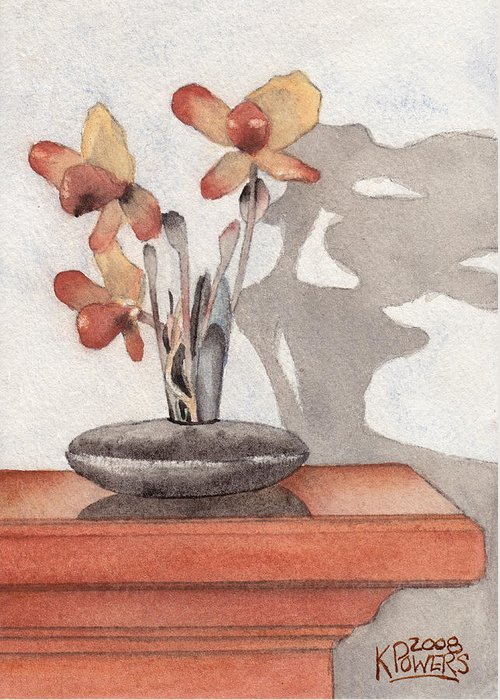Flower Greeting Card featuring the painting Mantel Flowers by Ken Powers