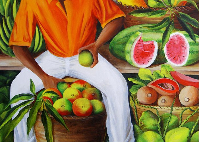 Caribbean Greeting Card featuring the painting Manuel The Caribbean Fruit Vendor by Dominica Alcantara
