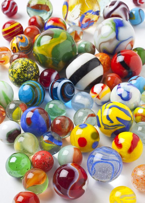 Marble Greeting Card featuring the photograph Many Beautiful Marbles by Garry Gay