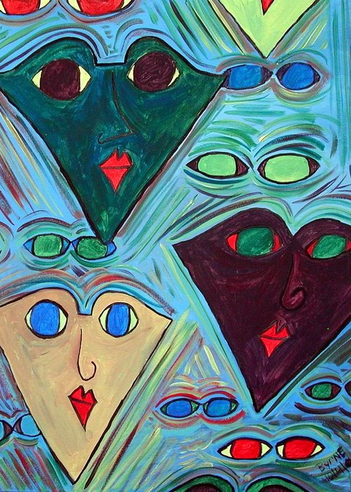 Greeting Card featuring the painting Many Faces Blue by Margie Byrne