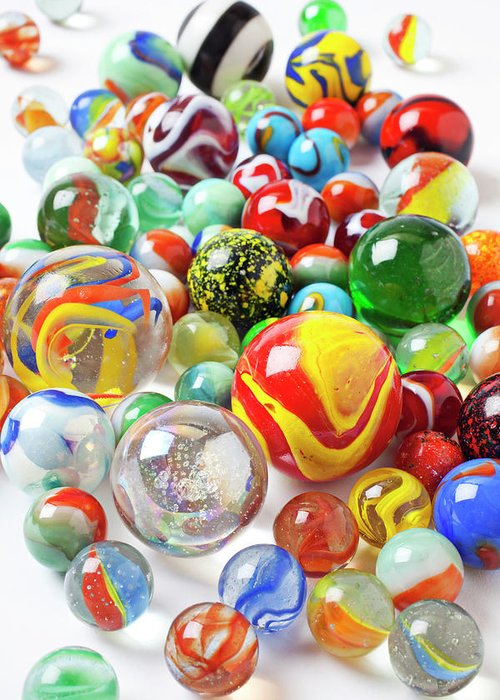 Marble Marbles Many Pile Shooter Shooters Round Glass Toy Toys C Greeting Card featuring the photograph Many Marbles by Garry Gay