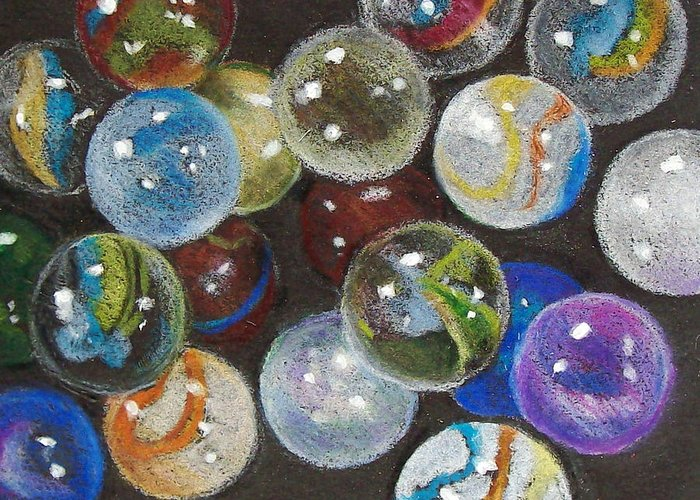 Marbles Greeting Card featuring the drawing Many Marbles by Joyce Geleynse