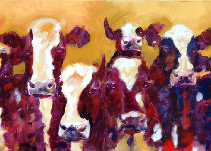 Animals Greeting Card featuring the painting Many Moos by Ron Patterson