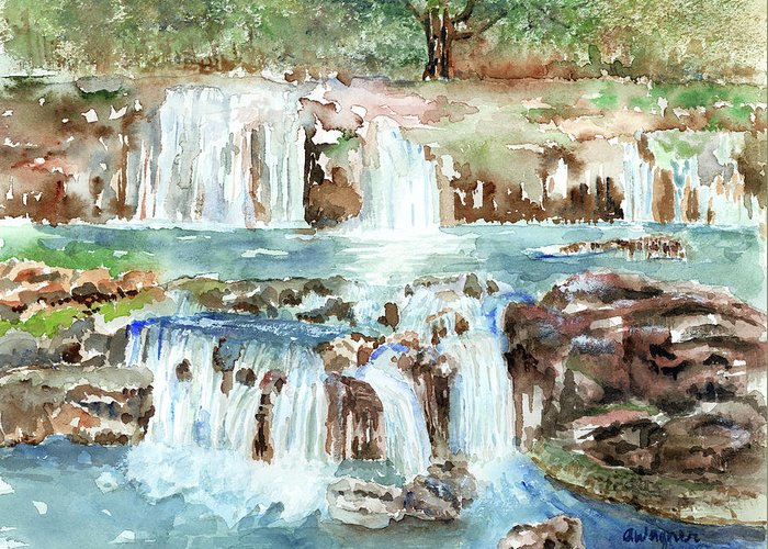 Waterfall Greeting Card featuring the painting Many Waterfalls by Arline Wagner