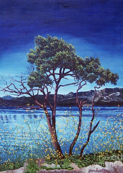 Llandscape Painting Greeting Card featuring the painting Manzanita At Lake Hemet by Jiji Lee