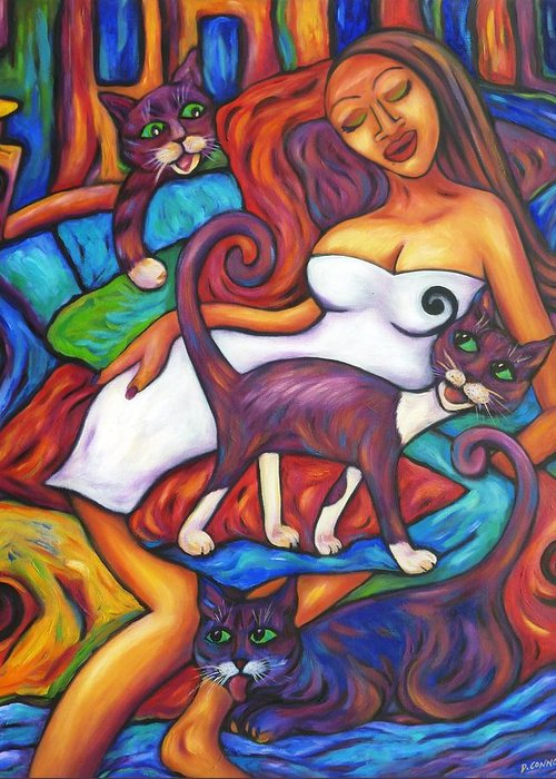 Diconnollyart Greeting Card featuring the painting Maori Girl And Three Cats by Dianne Connolly