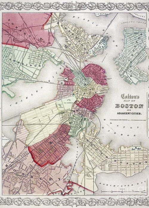 1865 Greeting Card featuring the photograph Map: Boston, 1865 by Granger