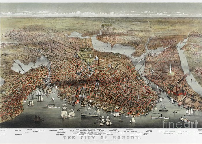 1873 Greeting Card featuring the photograph Map: Boston, C1873 by Granger