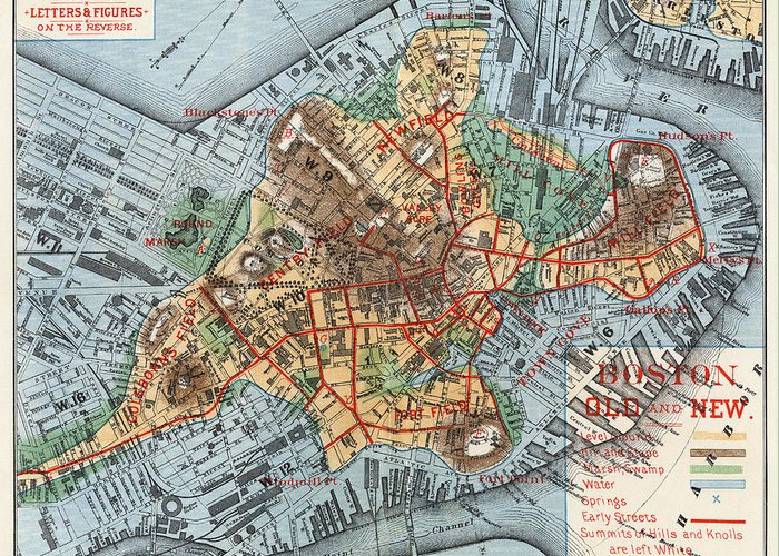1880 Greeting Card featuring the photograph Map: Boston, C1880 by Granger