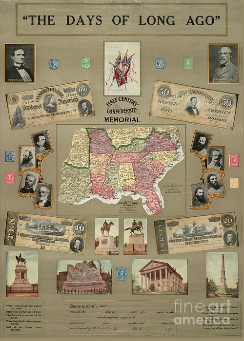 1910 Greeting Card featuring the photograph Map: Confederate States by Granger