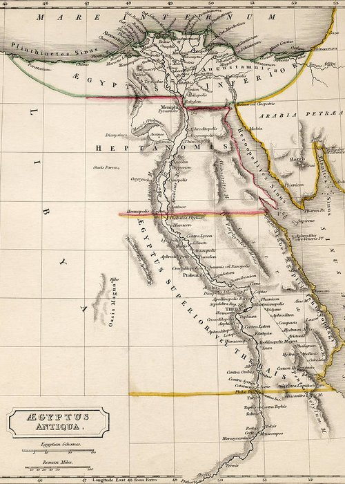 Maps Greeting Card featuring the drawing Map Of Aegyptus Antiqua by Sydney Hall