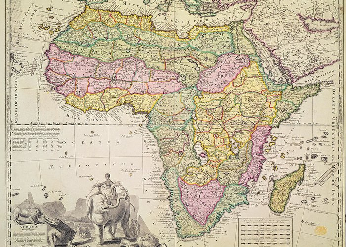 Map Greeting Card featuring the drawing Map Of Africa by Pieter Schenk
