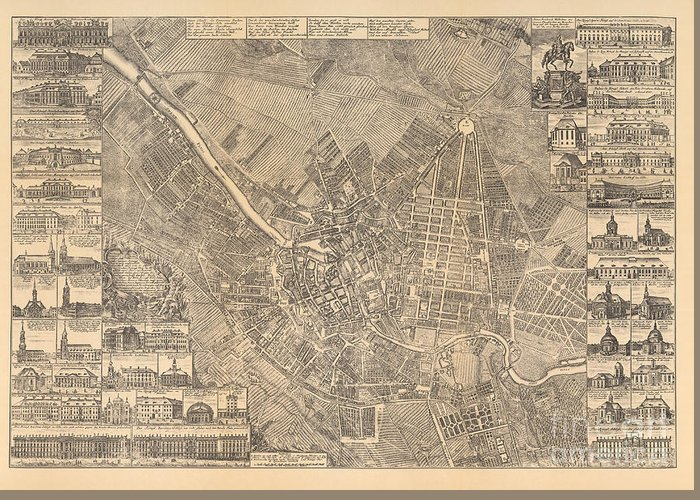 Maps Greeting Card featuring the painting Map Of Berlin Showing Buildings Of Interest, 1773 by Johann David Schleuen
