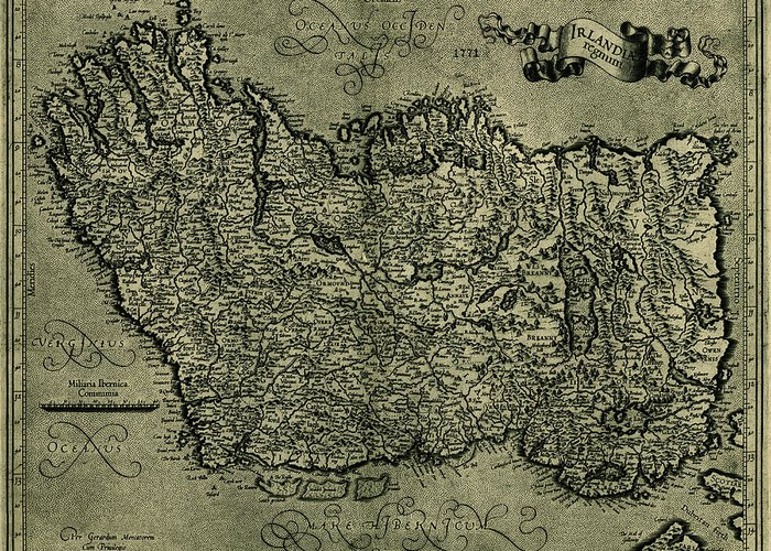 Map Of Ireland Greeting Card featuring the photograph Map Of Ireland 1771 by Andrew Fare