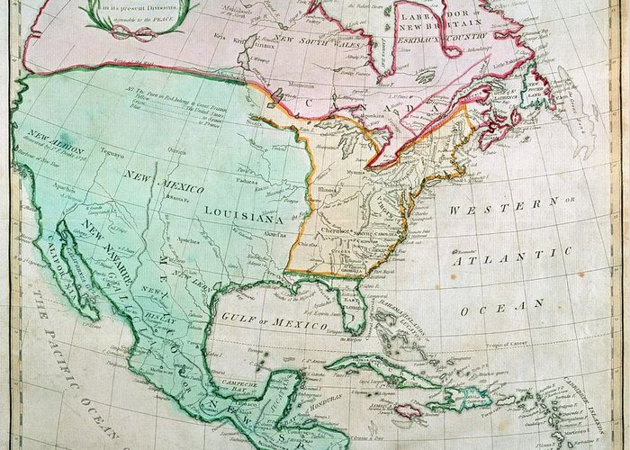 Map Greeting Card featuring the painting Map Of North America by English School