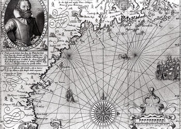 Maps Greeting Card featuring the drawing Map Of The Coast Of New England by Simon de Passe