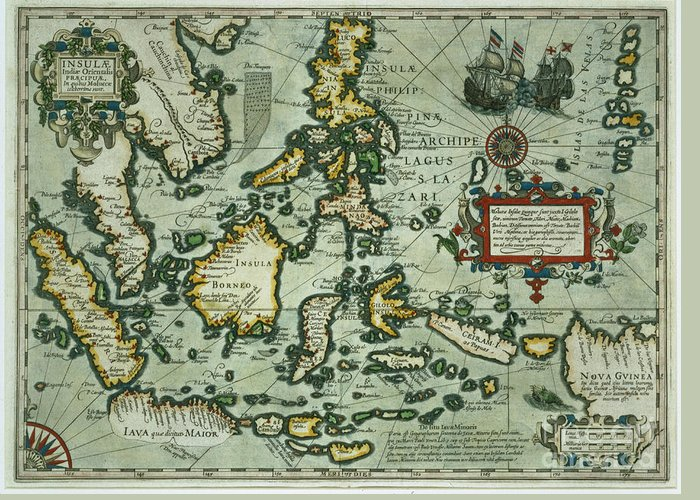 Map Of The East Indies Greeting Card featuring the drawing Map Of The East Indies by Dutch School