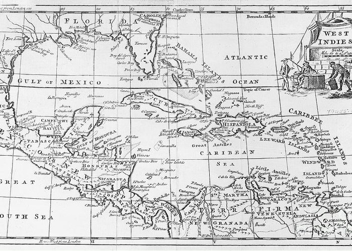 Map Greeting Card featuring the painting Map Of The West Indies Florida And South America by English School