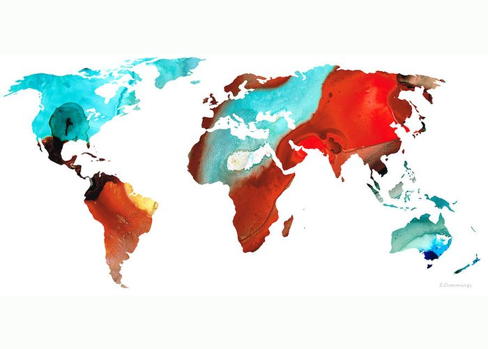 Map Greeting Card featuring the painting Map Of The World 4 -colorful Abstract Art by Sharon Cummings