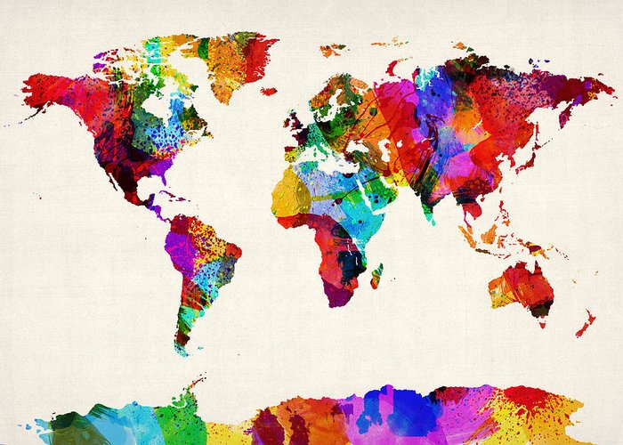 Map Of The World Greeting Card featuring the digital art Map Of The World Map Abstract Painting by Michael Tompsett