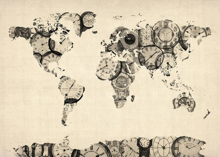 World Map Greeting Card featuring the digital art Map Of The World Map From Old Clocks by Michael Tompsett