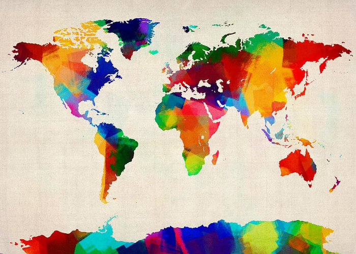 Map Of The World Greeting Card featuring the digital art Map Of The World Map by Michael Tompsett