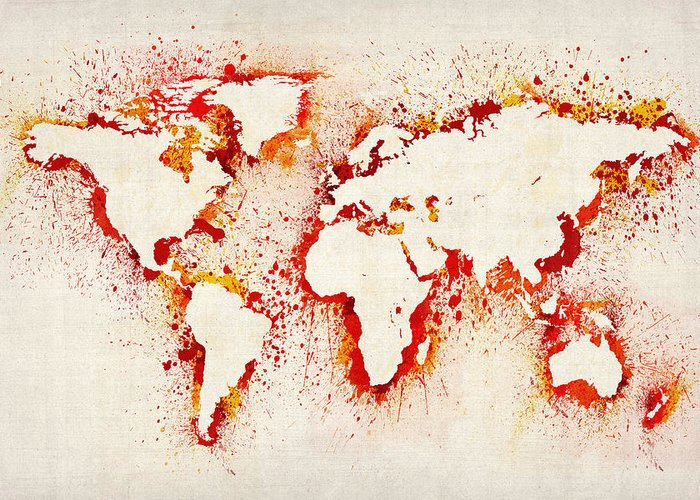 Map Of The World Greeting Card featuring the digital art Map Of The World Paint Splashes by Michael Tompsett