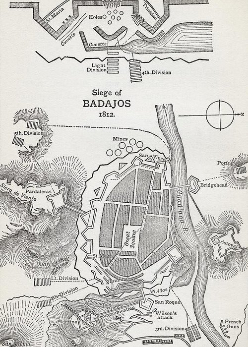 Site Greeting Card featuring the drawing Map Showing The Site Of The Siege Of by Vintage Design Pics