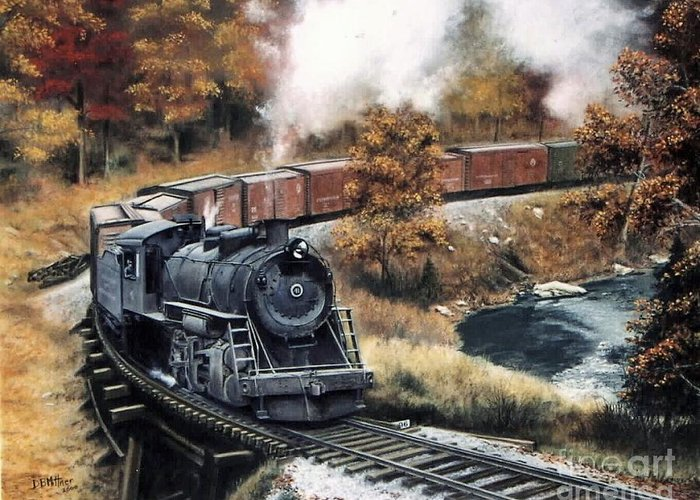 Train Painting Railroad Maryland And Pennsylvania Autumn Fall Colors Steam Engine Greeting Card featuring the painting MaPa by David Mittner