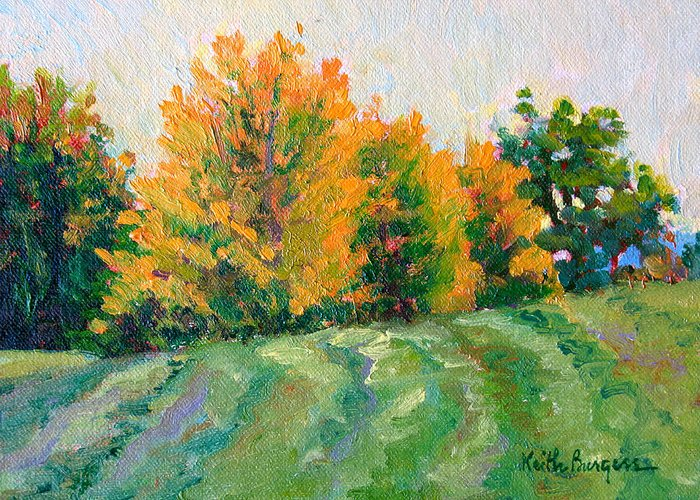 Impressionism Greeting Card featuring the painting Maple Grove by Keith Burgess