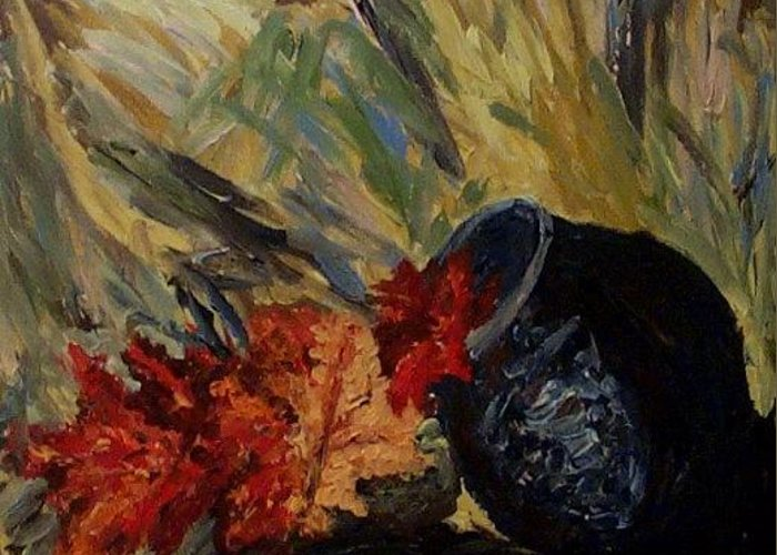 Still Life Greeting Card featuring the painting Maple Leaves by Mats Eriksson
