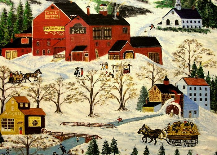 Folk Art Greeting Card featuring the painting Maple Syrup Factory by Kenneth LePoidevin