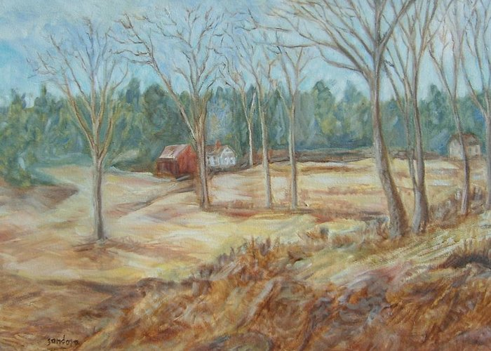 Landscape Greeting Card featuring the painting Maple Syrup Farm by Joseph Sandora Jr