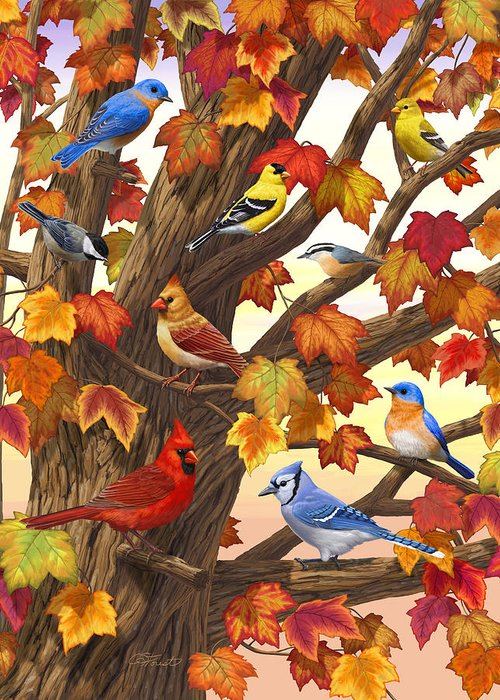 Bird Greeting Card featuring the painting Maple Tree Marvel - Bird Painting by Crista Forest
