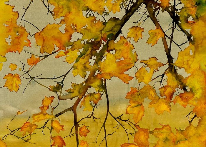Maples Greeting Card featuring the tapestry - textile Maples In Autumn by Carolyn Doe
