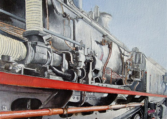 Train Greeting Card featuring the painting Maquina de Vapor by Tomas Castano