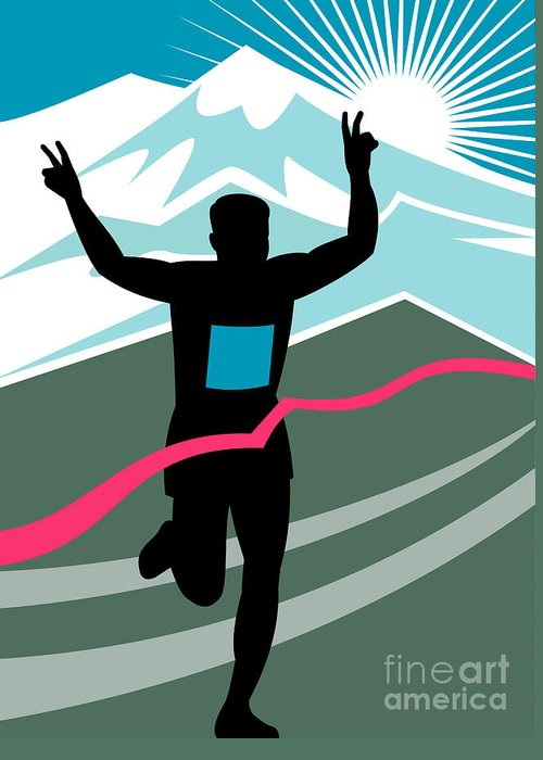 Marathon Greeting Card featuring the digital art Marathon Race Victory by Aloysius Patrimonio