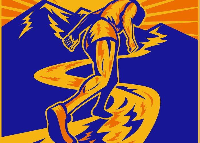 Marathon Greeting Card featuring the digital art Marathon Runner Or Jogger On Mountain Road by Aloysius Patrimonio