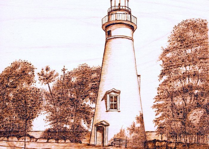 Lighthouse Greeting Card featuring the pyrography Marblehead Lighthouse by Danette Smith