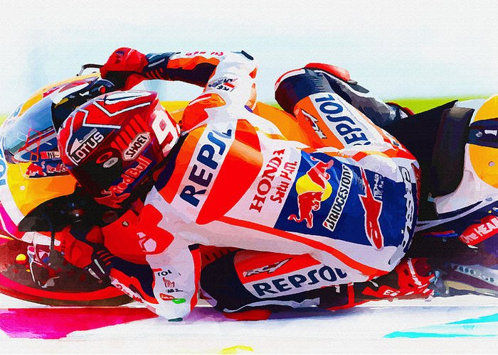 Marc marquez storms to second motogp crown greeting card for sale by marc marquez greeting card featuring the digital art marc marquez storms to second motogp crown by m4hsunfo