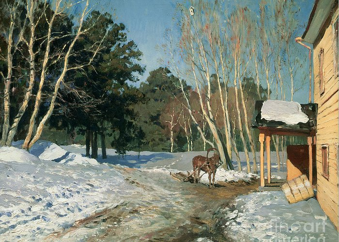 March Greeting Card featuring the painting March by Isaak Ilyich Levitan