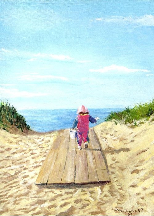 Beach Greeting Card featuring the painting March To The Beach by Jack Skinner