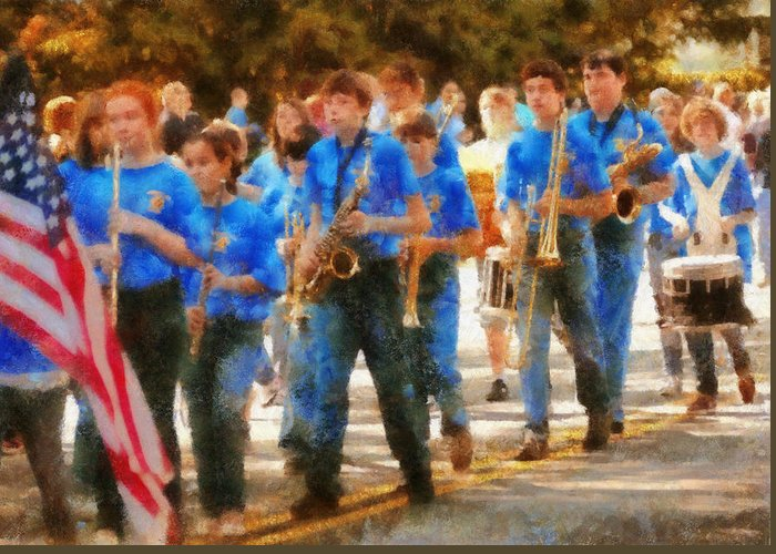 Suburbanscenes Greeting Card featuring the photograph Marching Band - Junior Marching Band by Mike Savad